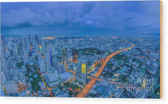 Bangkok At Dusk Wood Print