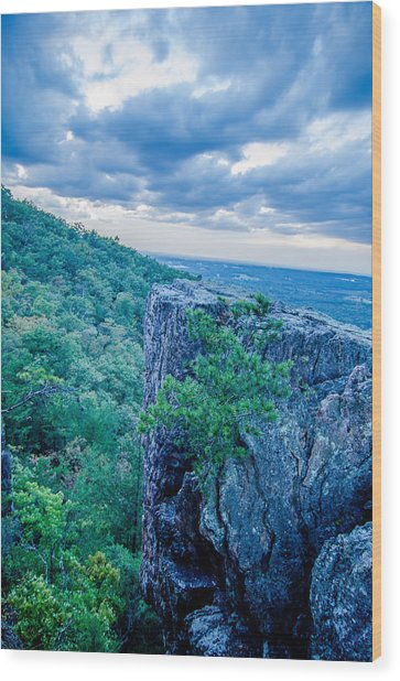 Beautiful Aerial Landscape Views From Crowders Mountain Near Gas Wood Print
