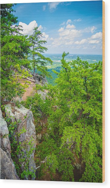 Beautiful Aerial Landscape Views From Crowders Mountain North Ca Wood Print