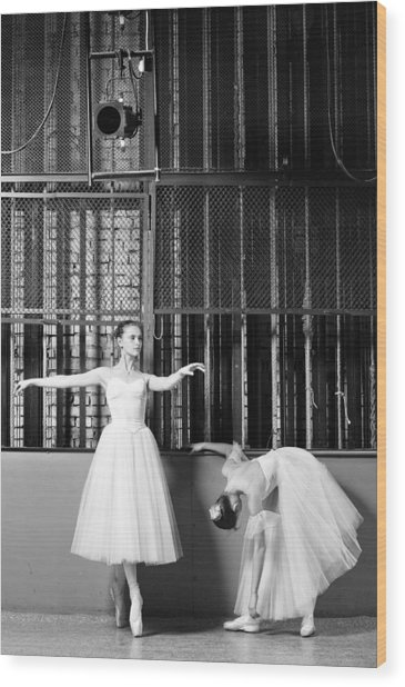 Beautiful Young Ballet Dancers In Rehearsal Wood Print by Ilya Lokalin