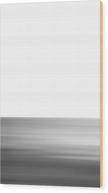Black And White Abstract Seascape No. 02 Wood Print