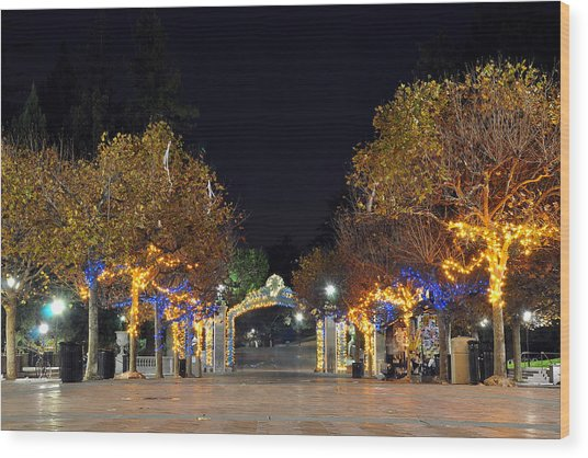 Blue And Gold Sather Gate Wood Print