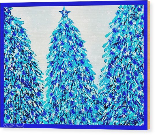 3 Blue Christmas Trees Alcohol Inks  Wood Print