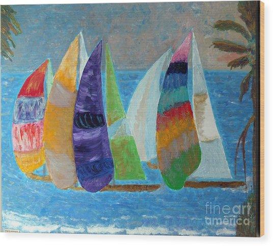 Boats At Sunset 1 Wood Print