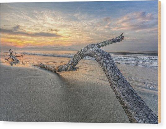 Bough In Ocean Wood Print