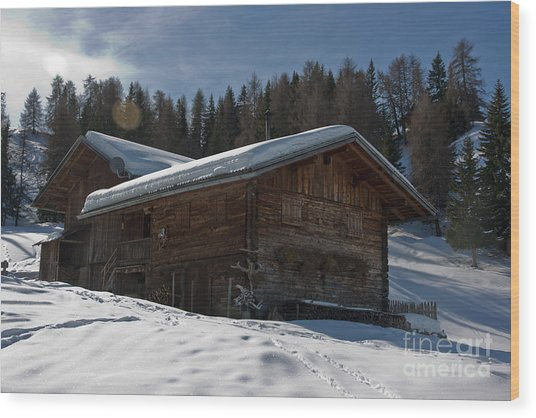 Chalet's Mountain Wood Print by Pier Giorgio Mariani