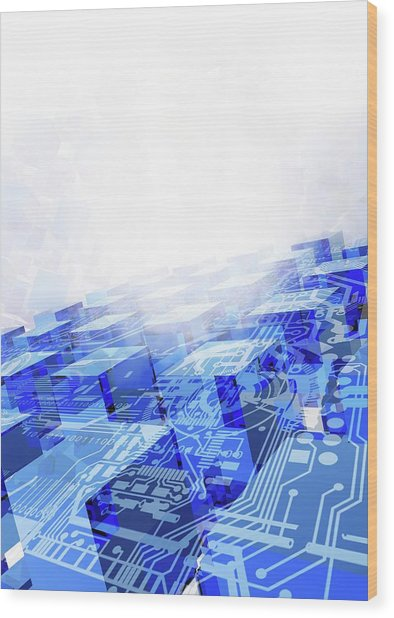 Cloud Computing, Conceptual Artwork Wood Print by Victor Habbick Visions