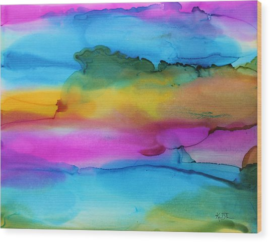 3 Colors Horizontal Abstract Wood Print by Kim Thompson