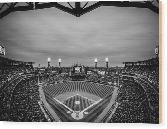Comiskey Park Night Game - Black And White Wood Print