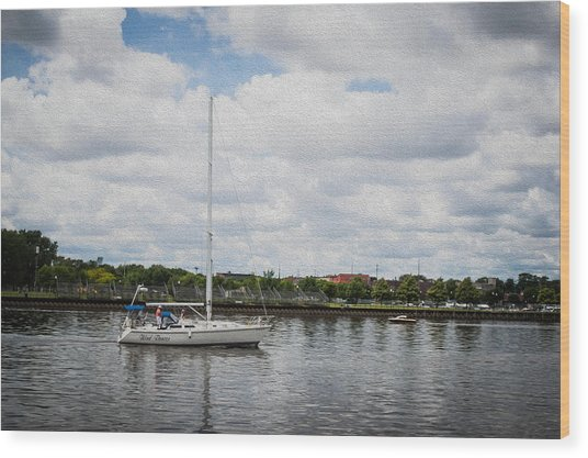 Cruising The Saginaw River Wood Print by Tom Causley