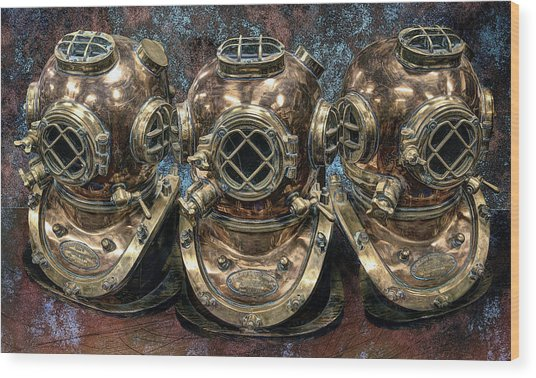 3 Deep-diving Helmets Wood Print