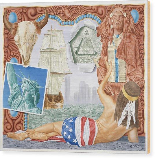 Destruction Of Native America Wood Print