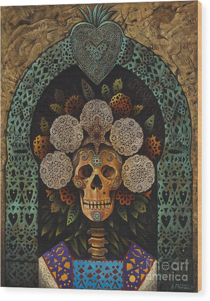 Dia De Muertos Madonna Wood Print