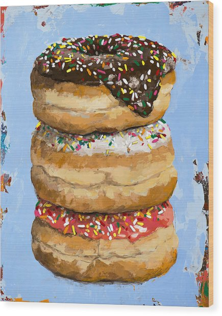 3 Donuts Wood Print