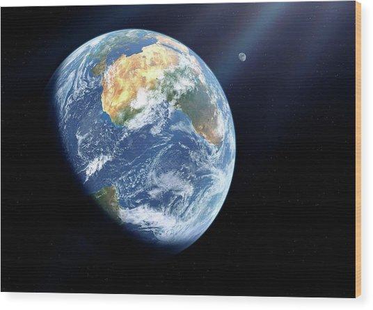 Earth And Moon From Space Wood Print by Detlev Van Ravenswaay