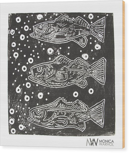3 Fish Wood Print by Monica Warhol