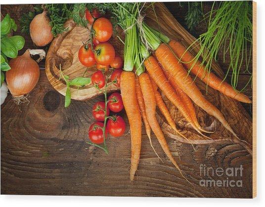 Fresh Vegetables Wood Print by Mythja  Photography