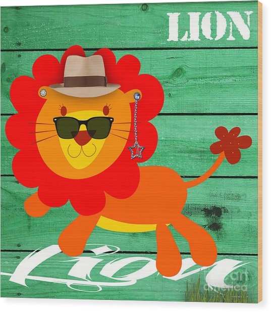 Friendly Lion Collection Wood Print
