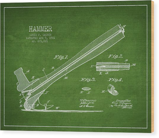 Hammer Patent Drawing From 1901 Wood Print
