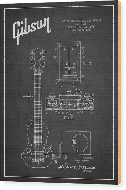 Hart Gibson Electrical Musical Instrument Patent Drawing From 19 Wood Print