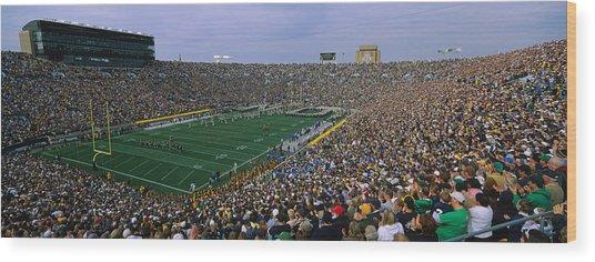 High Angle View Of A Football Stadium Wood Print