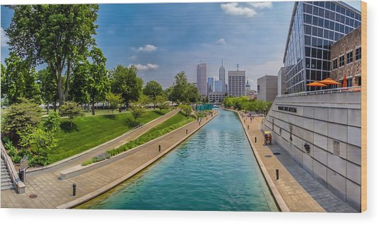 Indianapolis Skyline From The Canal Wood Print