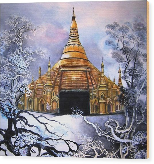 Interpretive Illustration Of Shwedagon Pagoda Wood Print by Melodye Whitaker