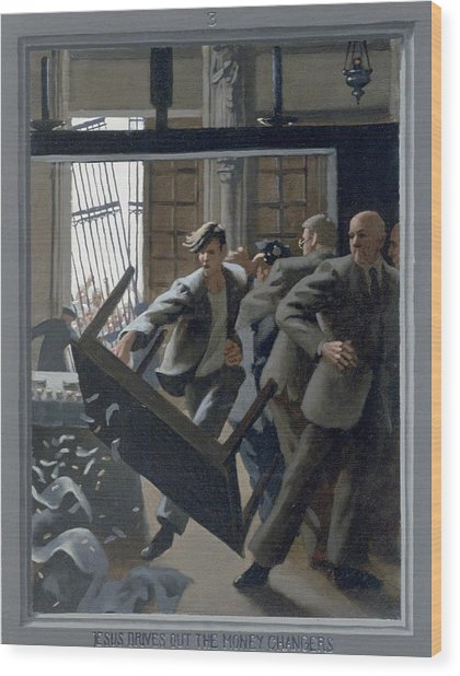 3. Jesus Drives Out The Money Changers / From The Passion Of Christ - A Gay Vision Wood Print by Douglas Blanchard
