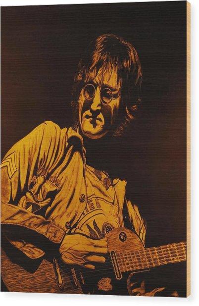 John Lennon 1972 Wood Print by Charles Rogers