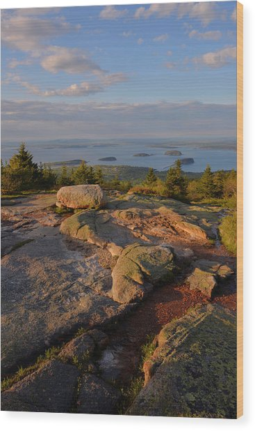 Late Day Light - Cadillac Mountain Wood Print by Stephen  Vecchiotti