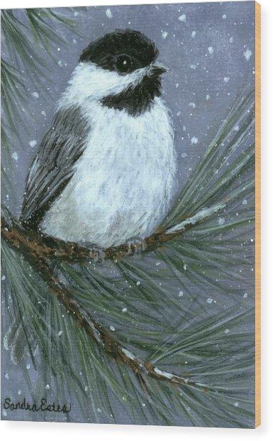 Let It Snow Chickadee Wood Print