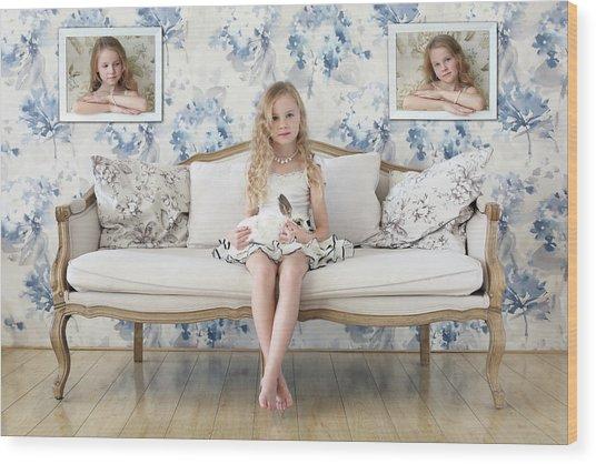 3 Little Girls And A White Rabbit Wood Print by Victoria Ivanova
