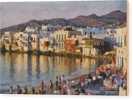 Little Venice In Mykonos Island Wood Print