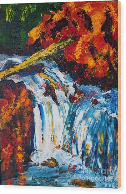 Log And Waterfall Wood Print