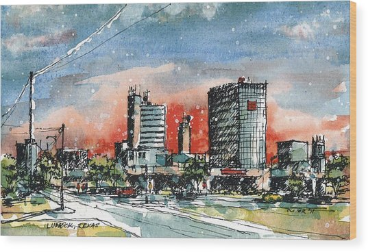 Lubbock Texas Skyline Wood Print