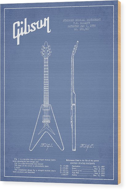 Mccarty Gibson Electric Guitar Patent Drawing From 1958 - Light Blue Wood Print