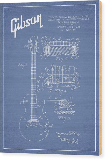 Mccarty Gibson Les Paul Guitar Patent Drawing From 1955 - Light Blue Wood Print
