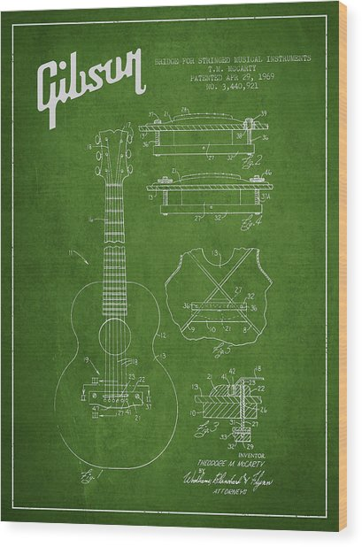 Mccarty Gibson Stringed Instrument Patent Drawing From 1969 - Green Wood Print