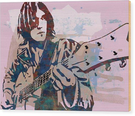 Neil Young Pop Artsketch Portrait Poster Wood Print