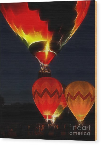 Night Of The Balloons Wood Print