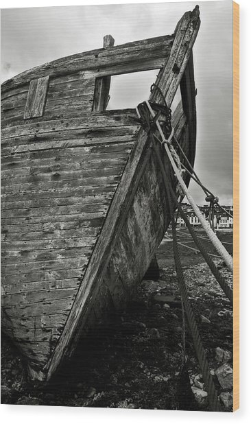 Old Abandoned Ship Wood Print
