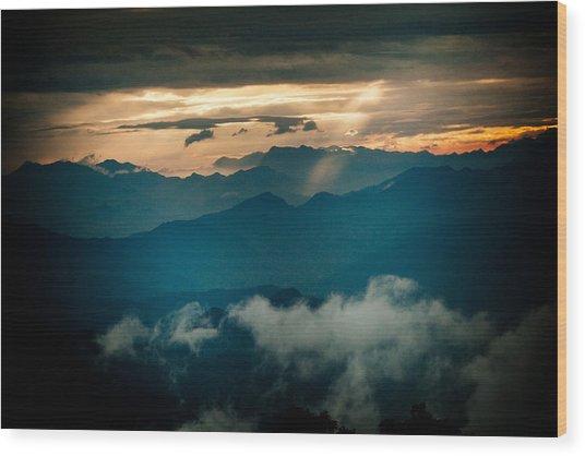 Panaramic Sunset Himalayas Mountain Nepal Wood Print