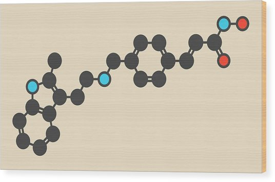 Panobinostat Cancer Drug Molecule Wood Print by Molekuul