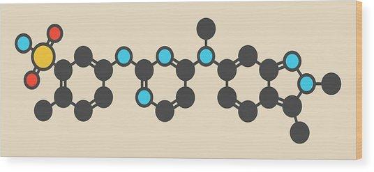 Pazopanib Cancer Drug Molecule Wood Print by Molekuul