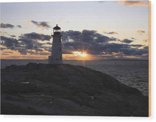 Peggy's Cove Lighthouse Nova Scotia Canada Wood Print