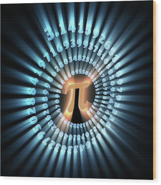 Pi Symbol And Number Wood Print by Alfred Pasieka
