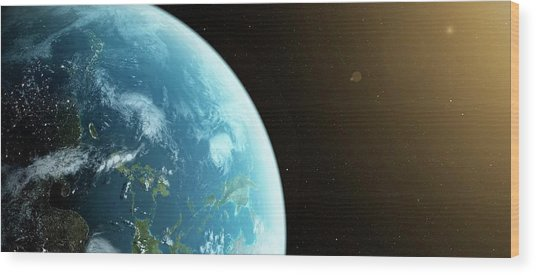 Planet Earth Wood Print by Sciepro