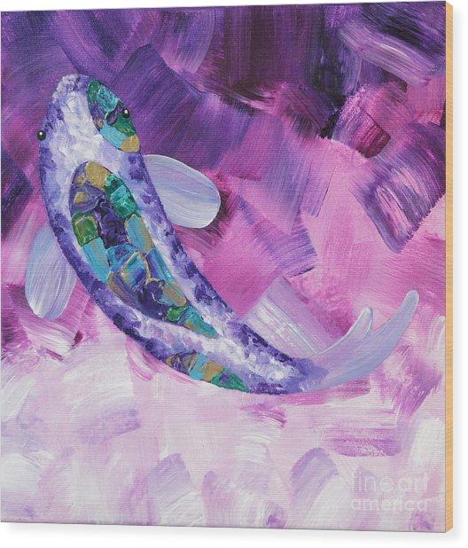 Purple Koi Wood Print