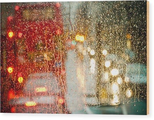 Rainy Day In London Wood Print