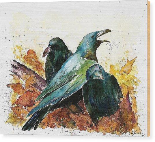 3 Ravens Wood Print